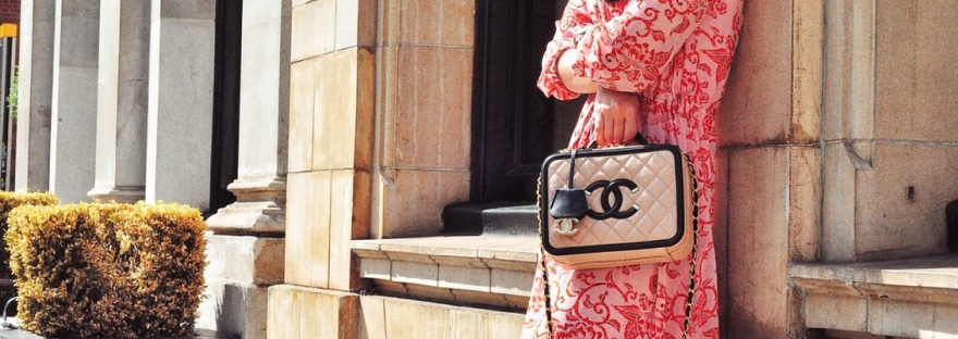 print dress whistles transitional season layering fall summer chanel bag vanity case bali pattern