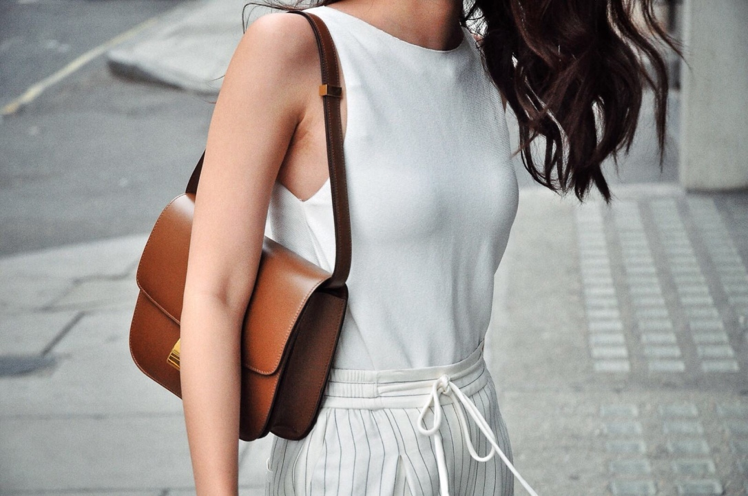 celine box bag, celine, white trousers, striped trousers, white sleeveless knit top, summer knit, brown celine bag, drawstring trousers