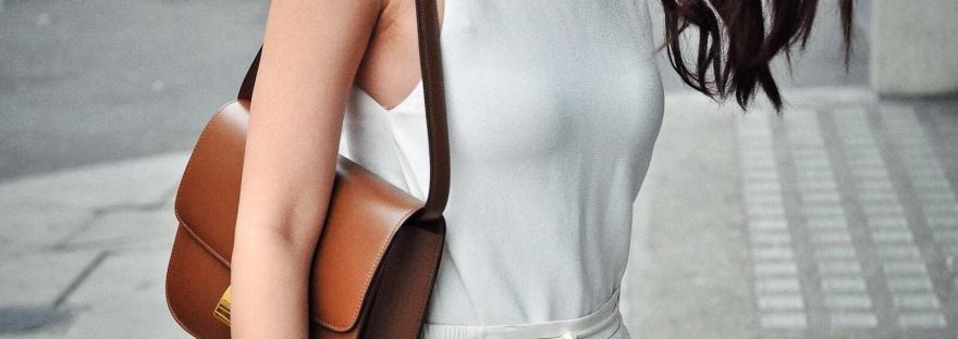 celine box bag, celine, white trousers, striped trousers, white sleeveless knit top, summer knit, brown celine bag, drawstring trousers