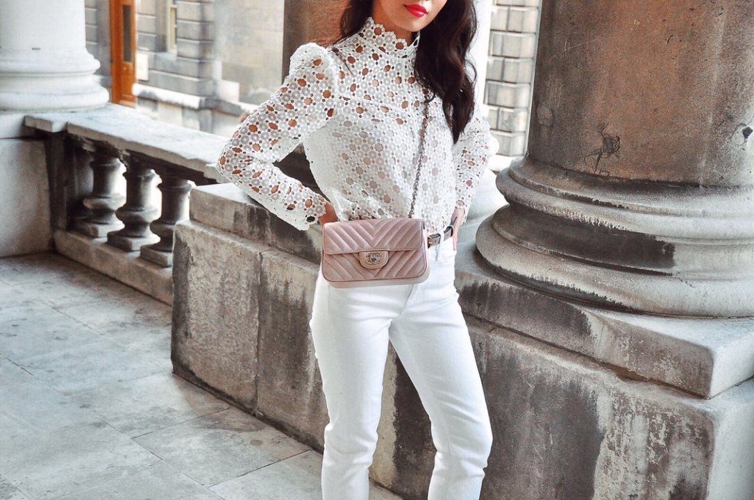 Wearing sandro white lace blouse, gucci marmont pink skinny belt, chanel rose gold pink rectangular mini bag, white straight cut jeans, pink satin mules heels. London summer white on white fashion
