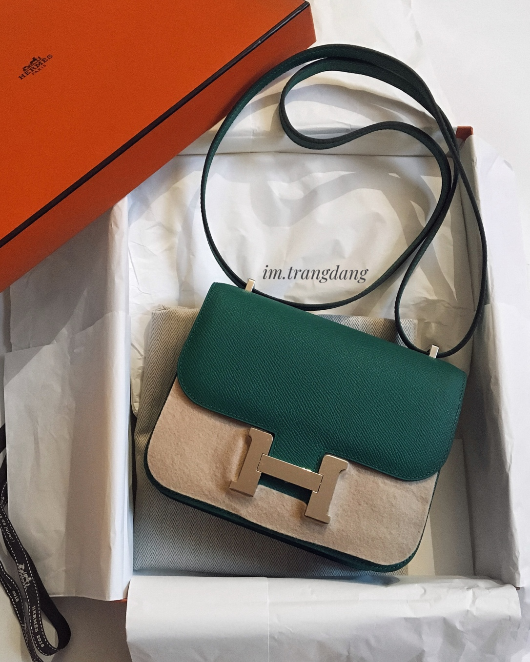 My brand new Hermes Constance 18 in Vert Vertigo epsom leather, palladium hardware.