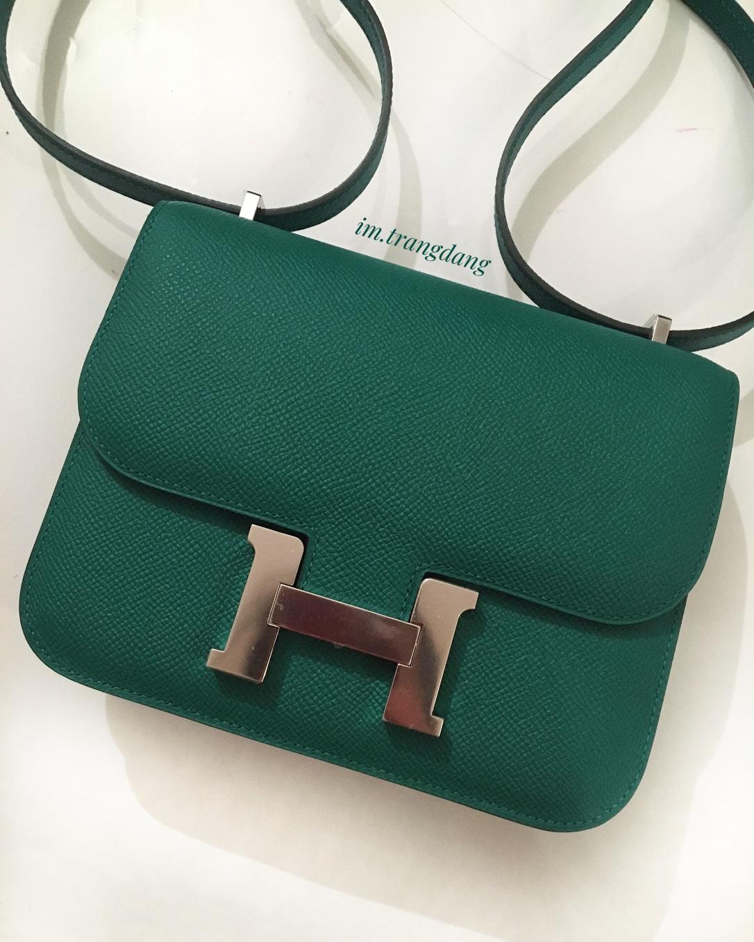 Hermes Constance 18 green Vert Vertigo epsom leather.