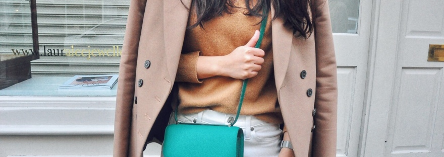 Hermes Constance 18 green Vert Vertigo epsom leather. Wearing with Zara double breasted jacket and camel cashmere sweater.