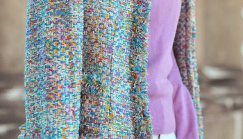 multicolour tweed jacket coco chanel brooch vintage style fashion