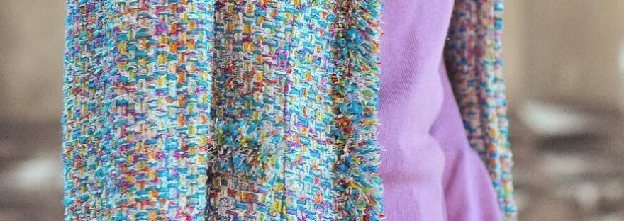 multicolour tweed jacket coco chanel brooch vintage style fashion